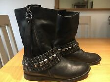 KAREN MILLEN SIZE 38 UK5 LADIES BLACK LEATHER ANKLE BIKER STYLE BOOTS WITH STUDS