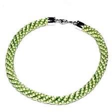 PIERRE LANG Collier jonc ras de cou rhodium argenté textile vert bijou necklace