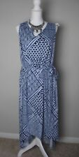 Woman's 3x NWT High-Low Sonoma blue white dress Party Cruise FREE Ship