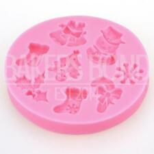 Jingle Bells Snowman Christmas Tree Holly Chocolate Silicone Mould Baking Icing