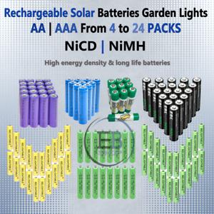 Rechargeable Solar Batteries AA or AAA 8 10 12 20 NiCD 600mAh - 2800mAh lot NiMH