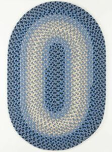 Twin River Blue Durable Country Cottage Home Classic Oval Braided Rug TR12