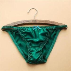 Womens Cute Thongs 100% Silk Panties T-Pants G-string Bowknot Bikini Gifts M XXL