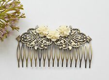Hair Comb Bronze Tone Wedding Bridal Vintage Style Hair Accessories Cream Flower