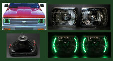 Halo Black Chrome Diamond Headlights H6014 H6052 H6054 7x6 Green Led