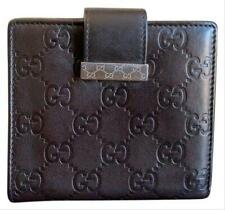 Authentic Gucci GG Guccissima Compact Dark Brown Leather Bifold Wallet 212090