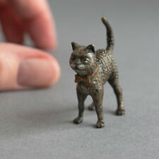 More details for vintage cold painted bronze miniature grey cat with pink bow tie collar pussycat