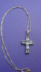 Genuine .925 Sterling Silver Blue Topaz Cross Pendant & Chain 4.3g