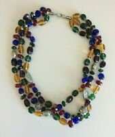 Vintage Jewel Tone Glass Bead and Silver Tone Artisan Necklace Jewelry 19""