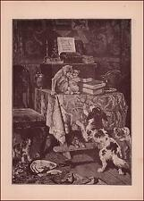 PET MONKEY Takes SPANIEL DOGS pup & Mess is Made in HOUSE, antique engraving