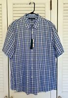 NWT PERRY ELLIS SHORT SLEEVE BUTTON UP SHIRT MENS XXL SLIMFIT PLAID 17-317