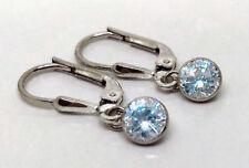 925 ECHT SILBER  RHODINIERT *** Kleine Ohrringe Ohrhänger 22 mm, Zirkonia blau