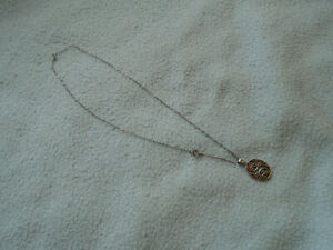 Beautiful  Silver Necklace With Filligree Pendant