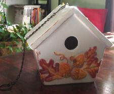 White Ceramic Bird House with raised Leaves and Acorns design