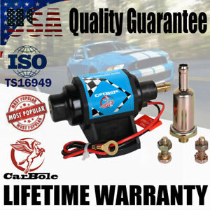 12V 4-7 PSI Universal External Electric Fuel Pump 35 GPH For Carburetor Gasoline