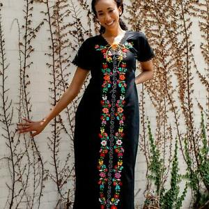 Mexican Hand Embroidered Maxi Dress, Floral Elegant Style, Wedding Dress