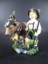 Almabtrieb Bayern Junge mit Tracht und Kuh 14 cm Tierfigur Dekofigur,Neu