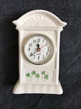 Watervale Parian China Carriage clock with shamrocks on the bottom