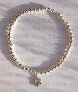 HANDMADE SILVER PLATED STACKING BEAD STRETCH BRACELET STAR OF DAVID CHARM (068)