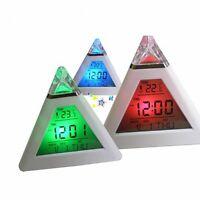 Fashion Clock Pyramid Temperature 7 Colors LED Change Backlight LED Alarm Wecker
