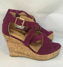 purple wedges Sandals Size 5 Strappy Berry Summer