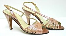 Evan-Picone Leather Strappy Sandal Heel Shoes Made Italy Blush Color Size 6 Med