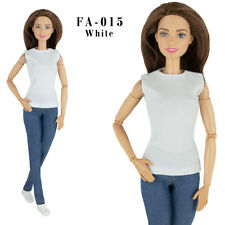 ELENPRIV FA015-03 sleeveless white jersey cotton T-shirt for Barbie dolls