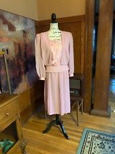 Dim The Lites Dress Sz 6 P Mauve Pleated Skirt Sheer Wedding 2 Peice Vintage