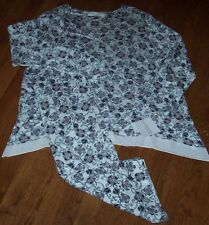 NWT Company Ellen Tracy Ivory/Blue/Taupe Floral SHARKBITE Slinky Pajama Set 3X