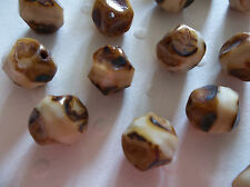 Czech Glass Beads - 9mm Chunky Round - Ivory with Brown Picasso Rims - Qty 12