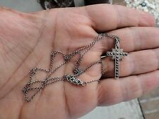 vintage STERLING SILVER Ladies CROSS & CHAIN THEDIA MARCASITE