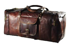 Top Quality Mens Genuine Classic Duffel Vintage Journey Bag Real Goat Leather