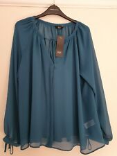 F&F Teal Sheer Blouse Top Size 12 New With Tags