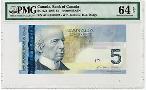 BANK OF CANADA - 5 Dollars 2006 - PMG 64 EPQ Choice Uncirculated - BC-67a