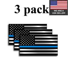 3pk Police Officer American Flag Thin Blue Line Decal Sticker Blue Lives Matter