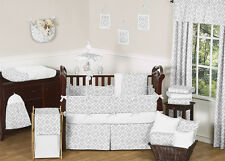 Unique Gray White Designer 9pc Baby Girl Boy Crib Bedding Set Sweet Jojo Designs
