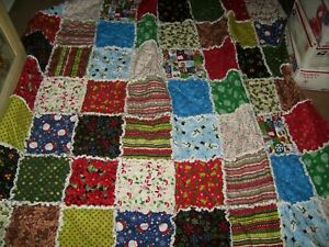 "Handmade XL Rag quilt blanket throw Christmas   64"" x 72"""