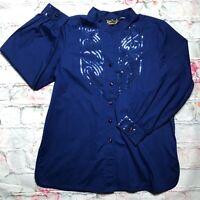 Bob Mackie Wearable Art Women Small Blue Sequins Long Sleeve Button Up Tunic Top