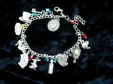 Charm Bracelet Alice Wonderland Hatter Cat Rabbit Mad Beaded Dormouse Drink Eat