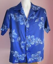 VTG Mens HILO HATTIES Blue Floral Hawaiian Shortsleeve Shirt Size Large (a22)
