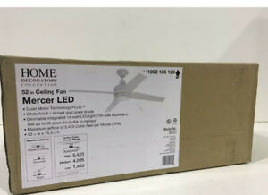 Home Decorators Collection Mercer 52 in. LED Indoor White Ceiling Fan