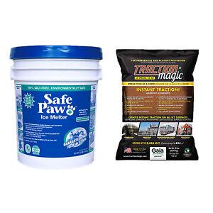 Safe Paw Pet/Child Safe Ice Melt, 35 Lb & Traction Magic Snow Melter, 45 Lb Bag