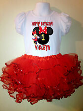 Minnie Mouse Dress Birthday Party  2pc tutu-set 1T,2T,3,4,5,6,7,8,9 Red