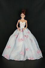 White Ball Gown with Blue and Pink Accents Made to Fit Barbie Doll