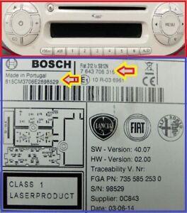 FIAT 500 BOSCH RADIO CODE UNLOCK Fiat 312 PIN Security Code