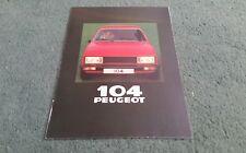 1980 PEUGEOT 104 ZL ZR ZS 3 DOOR UK BROCHURE