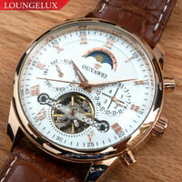 NEW Mens Skeleton Automatic Mechanical Leather Wrist Watch Date Day Moon Phase