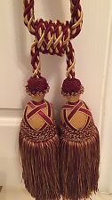 Vintage Two Tone Rope Tieback Tassel, In Gold & Cranberry Red, Rare
