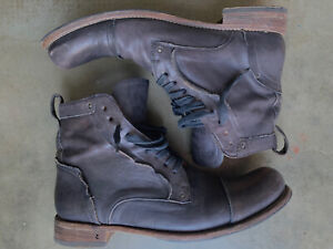 John Varvatos Collection Mens Brixton Welder Leather Boots Black Italy 11.5