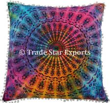 Indian Tie Dyed Mandala Euro Sham Pillow Cases Decorative Bohemian Cushion Cover